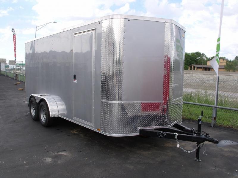"Enclosed Trailer 7 X 16 Ramp 6' 6"" Interior Height Silver Mist Color ALL Tube Construction"