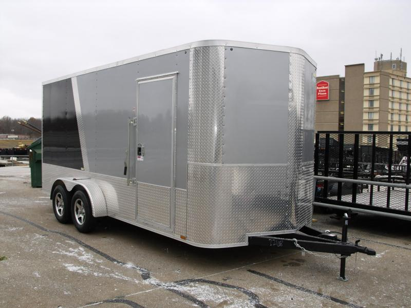 Enclosed Trailer 7 X 16 Ramp 7' Height TWO Tone SilverMist/Black 7000 GVW ALL Tube Construction 4 WL Brakes (Cash Option Here)