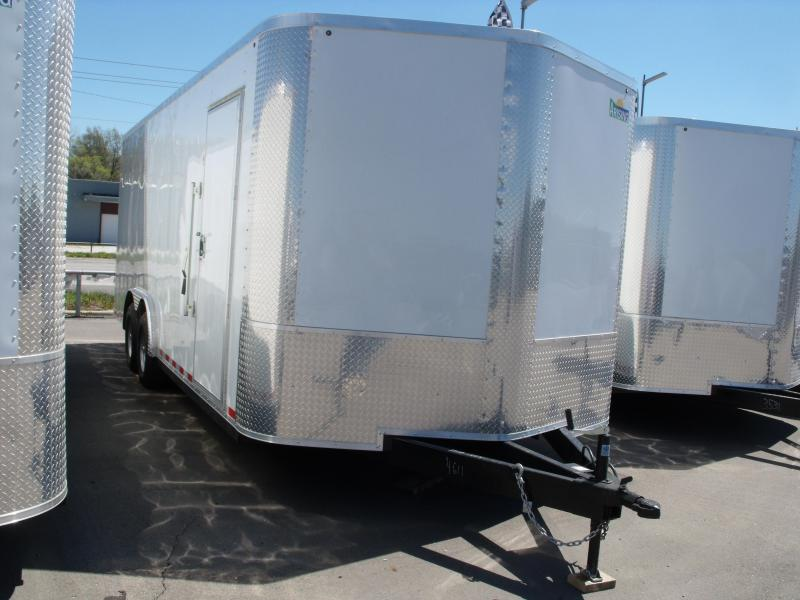 Enclosed Trailer 8.5 X 20 Ramp   7 ' Interior 9990 GVW ALL TUBE Construction  Two Tone White/Silver