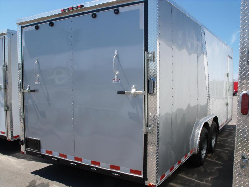 Enclosed Trailer 8.5 X 20 Ramp   7 ' Interior 9990 GVW ALL TUBE Construction  Two Tone White/Silver