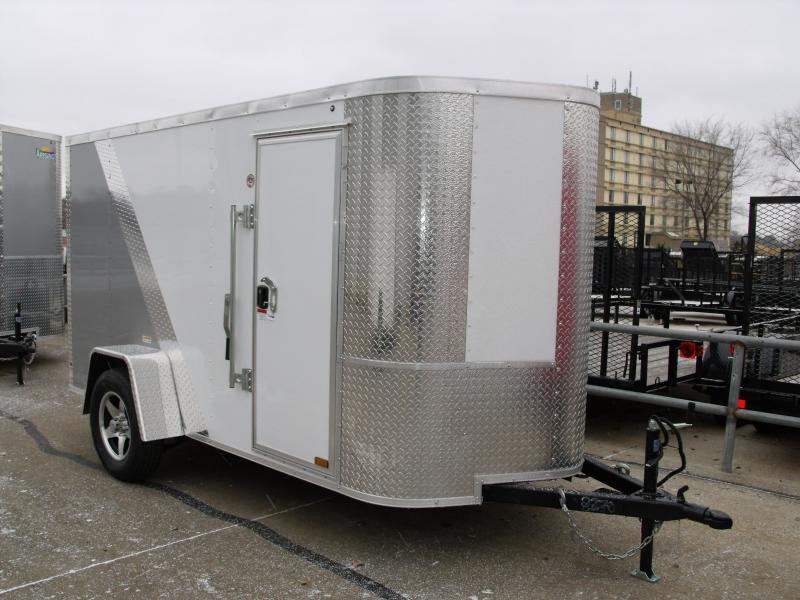 "Enclosed Trailer 5 X 10 Ramp 5' 6"" Interior Height Two Tone Color White/Silver Mist   (((Cash Savings Here)))"