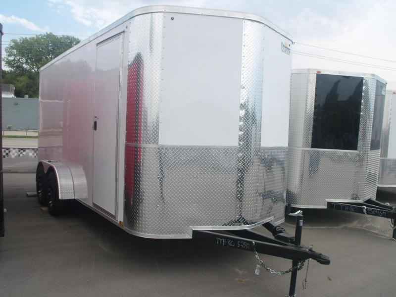 Enclosed Trailer 7 X 16 Ramp 7' Height ATV Trailer Color White Tube Const