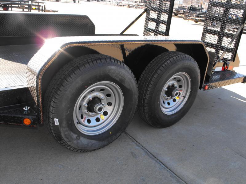 """Skid Steer Trailer 81"""" X 16 Non Slip Combo Ramps 14000 GVW ALL STEEL 1/8"""" Diamond Plate Steel"""