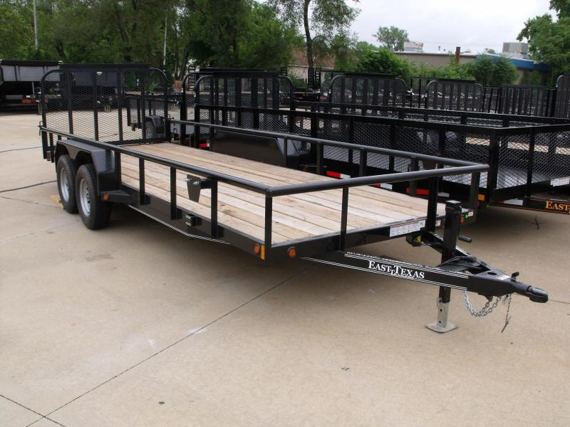 Utility Trailer 80 X 20 Tandem Axle Pile Rail Top Landscape Trailer Spring Assisted Tube Gate 7000 Gvw