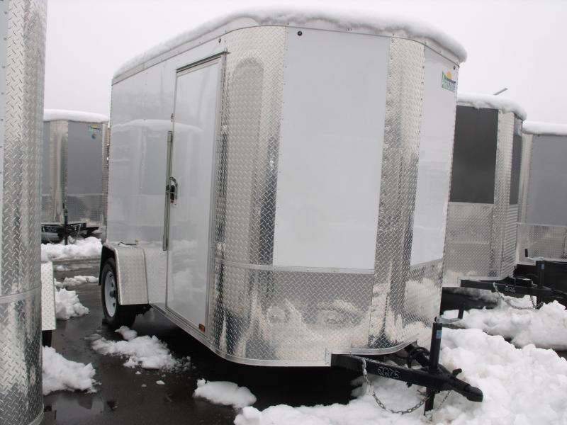 "Enclosed Trailer 6 X 10 Ramp 6' 6"" Interior Height White In Color"