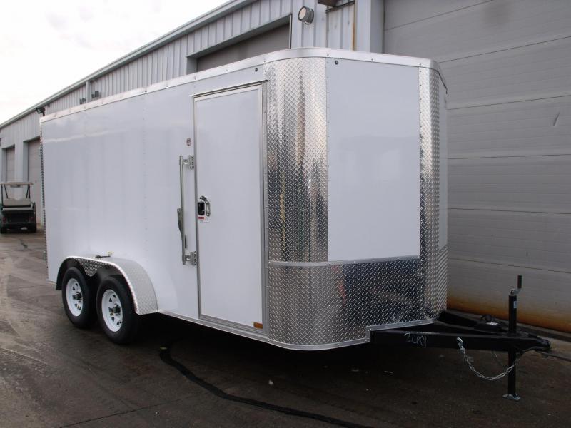 "Enclosed Trailer 7 X 14 ((BARN DOOR)) 6' 6"" Interior ALL TUBE Construction Color White"