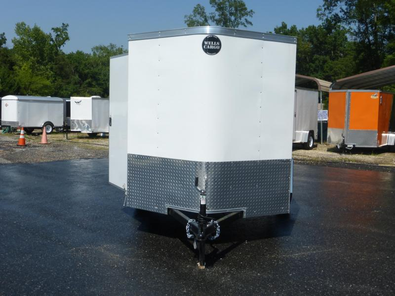 Wells Cargo 6' x 10' Rounded V-Nose Enclosed Trailer w/ Cargo Doors