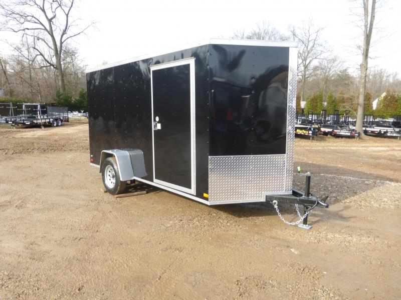 Covered Wagon Black 6' X12' V-Nose Enclosed Cargo Trailer w/Ramp