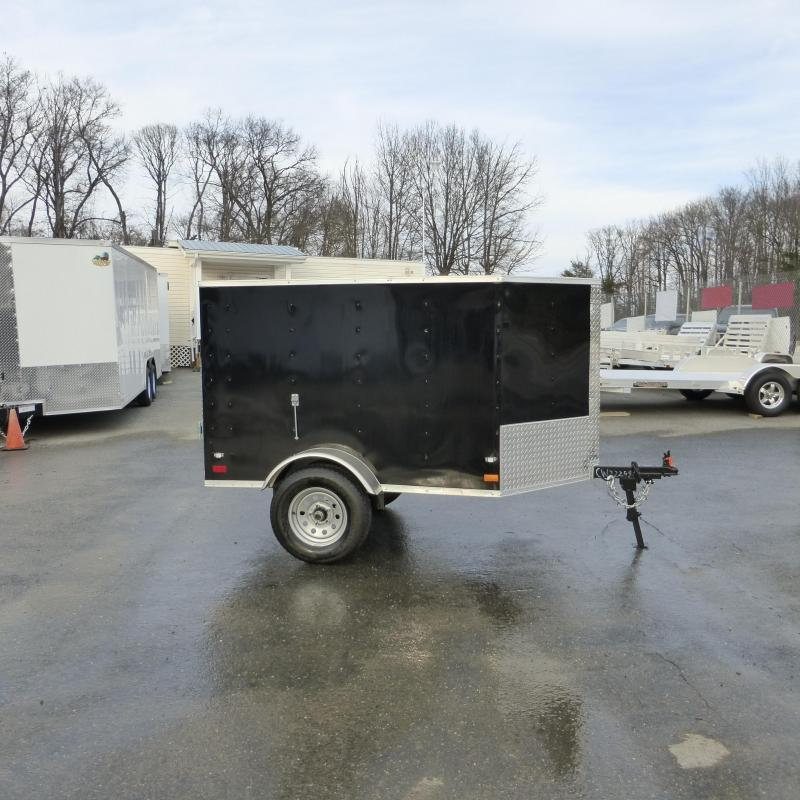Diamond Cargo 4' x 6' Black Enclosed Trailer w/ a V-Nose and Single Swing Door