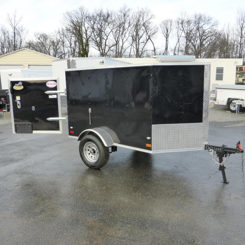 Covered Wagon Trailers 4' x 6' Black Enclosed Trailer w/ a V-Nose and Single Swing Door