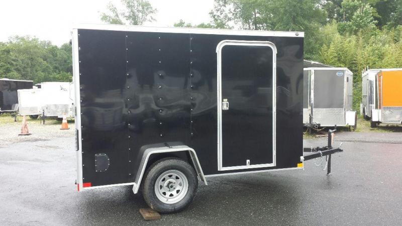 Wells Cargo VG Series 6' x 10' V-Nose Black Cargo Trailer w/ Ramp