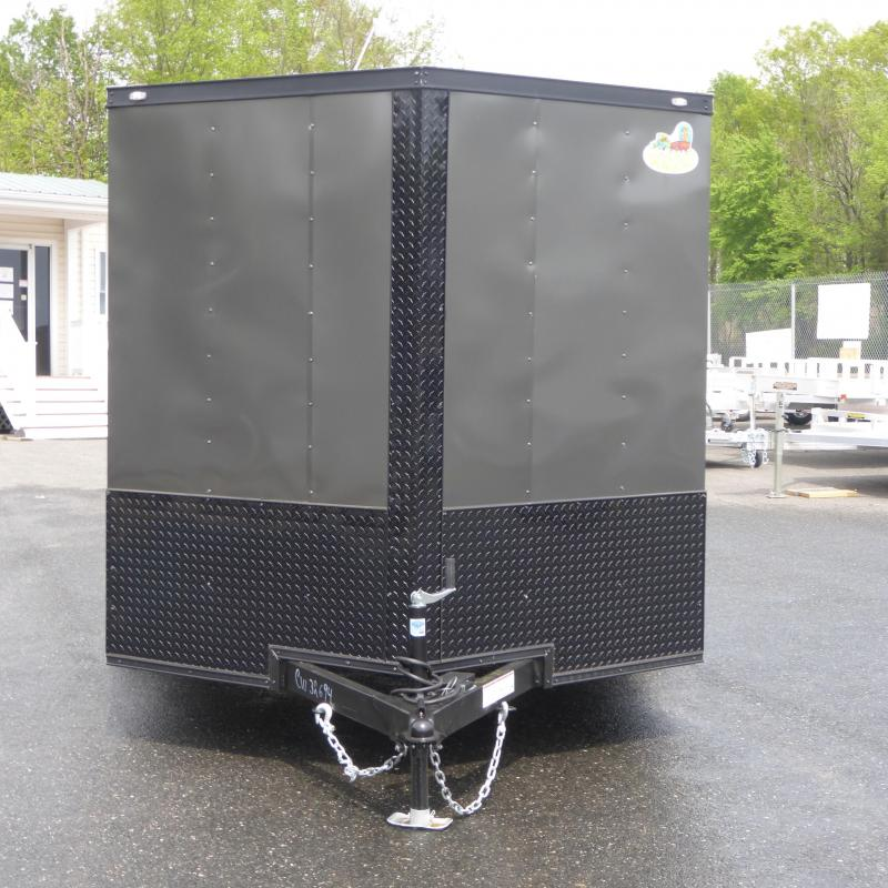 Covered Wagon 7' x 14' Charcoal Enclosed Cargo Trailer with Ramp & Blackout Package