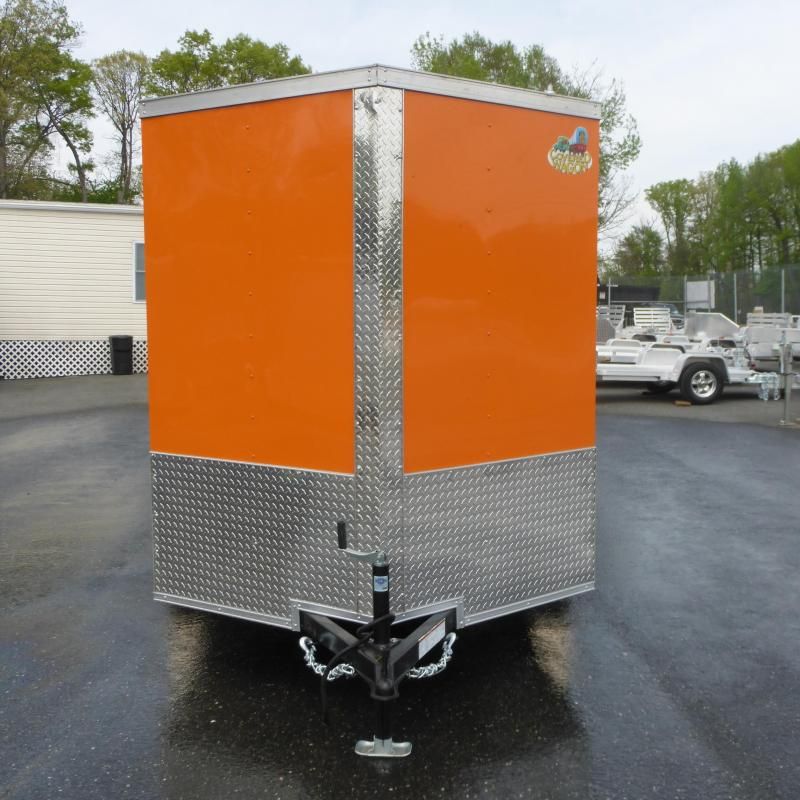 Covered Wagon Orange/Black 6' x 10' V-Nose Enclosed Trailer w/ Ramp
