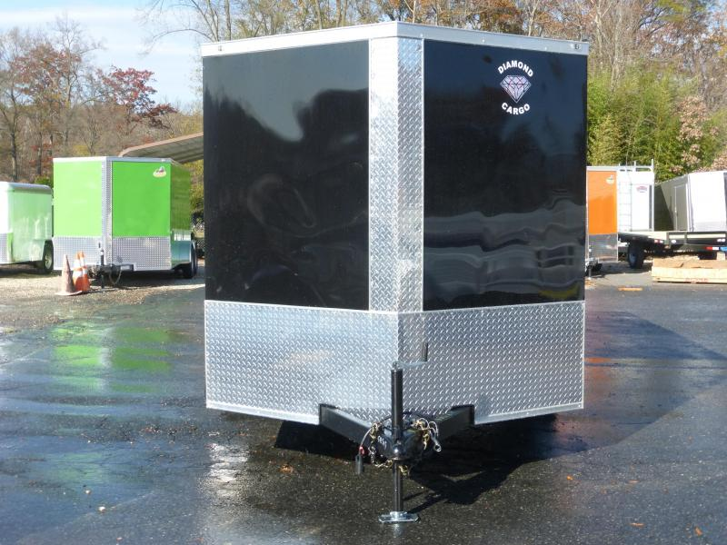 Diamond Cargo 7 x 12 V-Nose Black Tandem Enclosed Trailer w/ Ramp