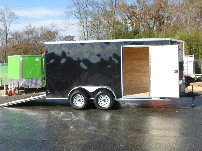 Diamond Cargo 7 x 12 V-Nose Black Tandem Enclosed Trailer w/ Ramp