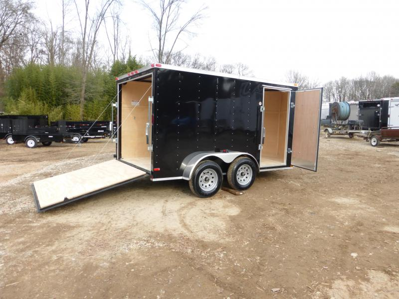 Lark 7 x 12 V-Nose Black Tandem Enclosed Trailer w/ Ramp