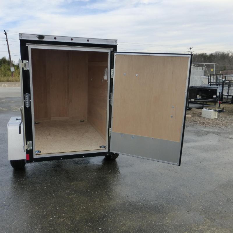 Black Wells Cargo VG 4' x 6' Rounded V Nose Cargo / Enclosed Trailer w/Single Door