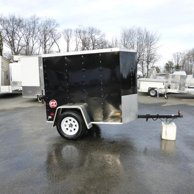 Black Wells Cargo VG 4' x 6' Rounded V Nose Cargo / Enclosed Trailer w/Single Door
