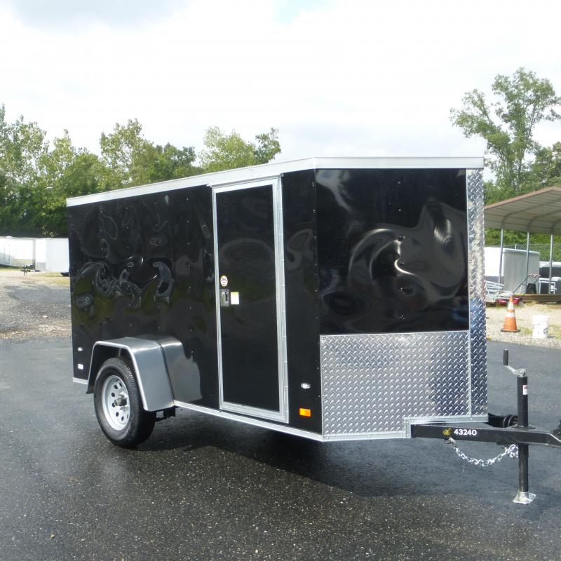 Covered Wagon 5' x 10' V-Nose Black Enclosed Trailer w/ Ramp and Side Door