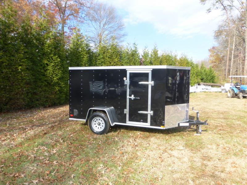 Lark 5' x 10' V-Nose Black Enclosed Trailer w/ Ramp and Side Door