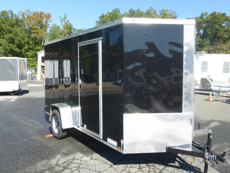 Diamond Cargo 5' x 10' V-Nose Black Enclosed Trailer w/ Ramp and Side Door