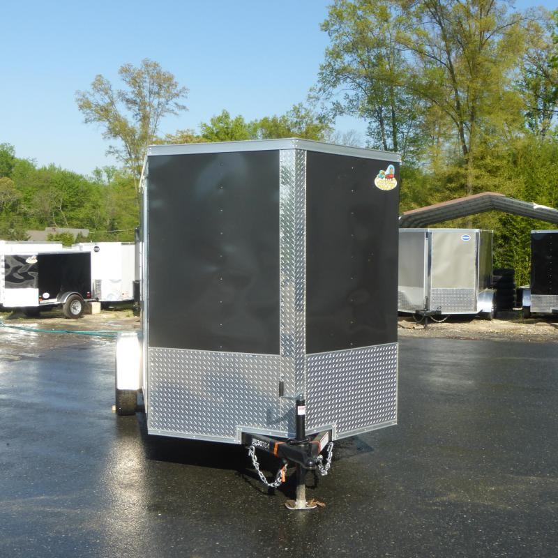 Covered Wagon Charcoal 6' x 10' V-Nose Enclosed Cargo Trailer w/Ramp
