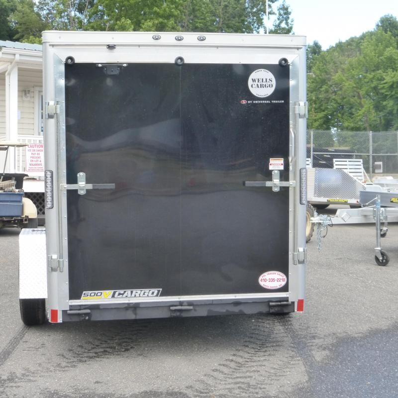 Wells Cargo VG Series 6' x 12' V-Nose Black Enclosed Trailer w/ Ramp