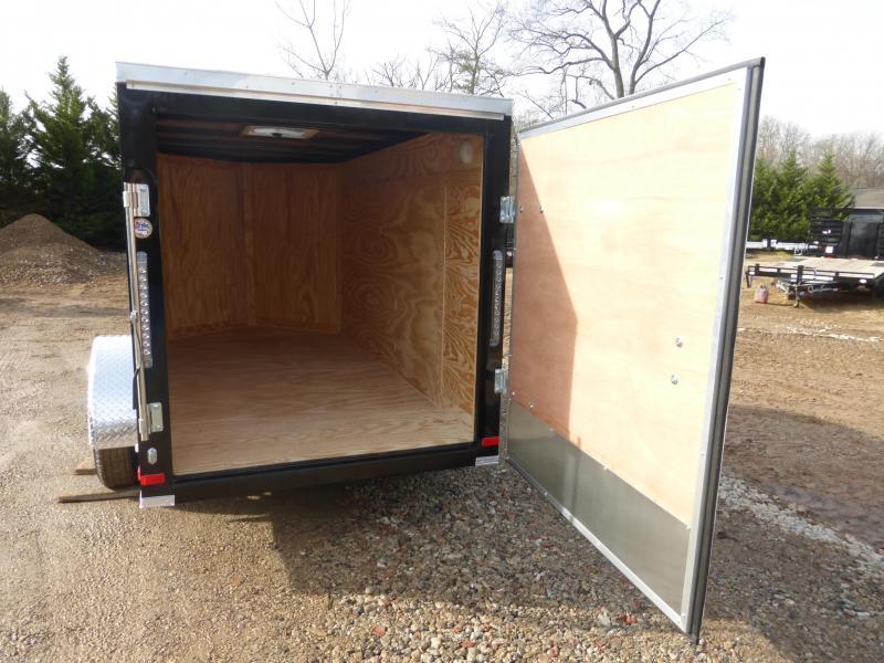 Lark Black 5' X 10' V-Nose Enclosed Cargo Trailer w/Single Swing Door
