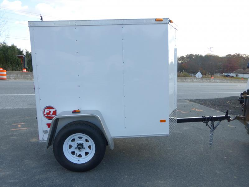 Wells Cargo 4' x 6' Rounded V-Nose Cargo Trailer w/ a Single Swing Door