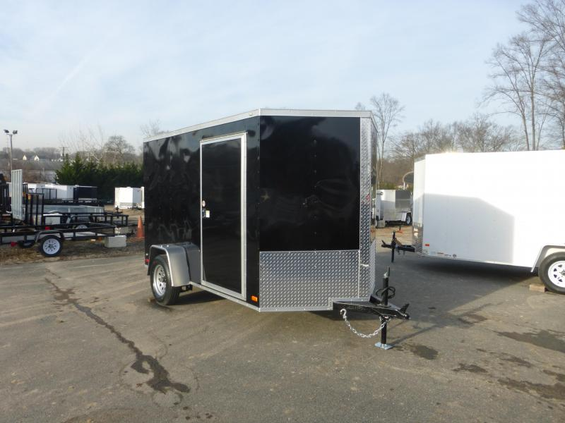Covered Wagon 6' x 10' Black V-Nose Enclosed Trailer w/ Cargo Doors