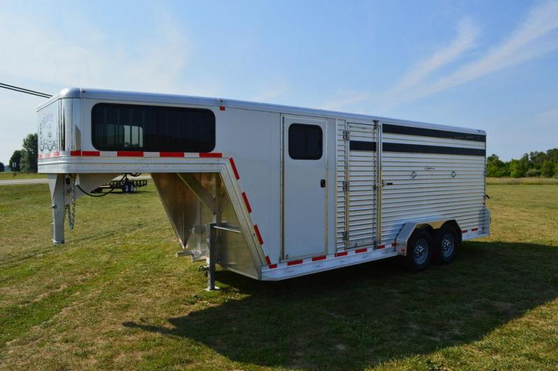 2017 Frontier 20 ft All Aluminum Gooseneck Livestock Trailer w/Front Tack For Sale